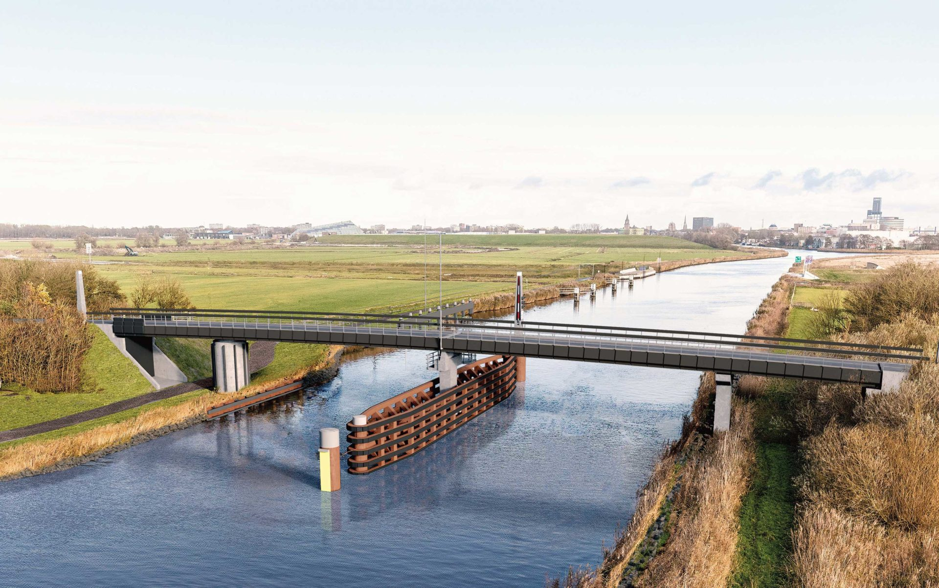 Fryslân gets a 66 metre-long moveable bicycle bridge made from biocomposite
