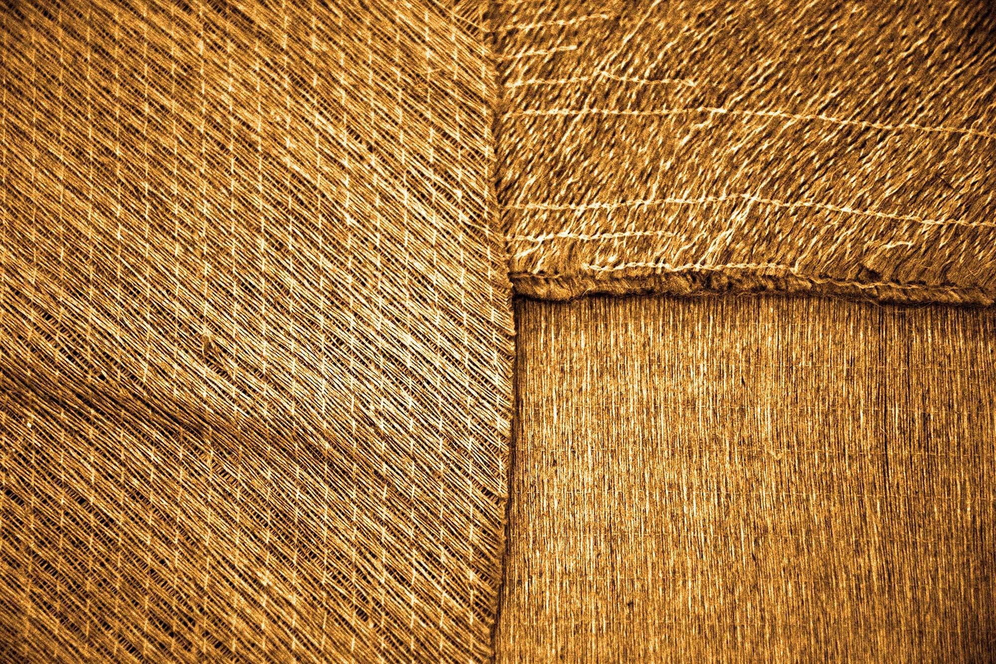 Flax fibres woven closeup