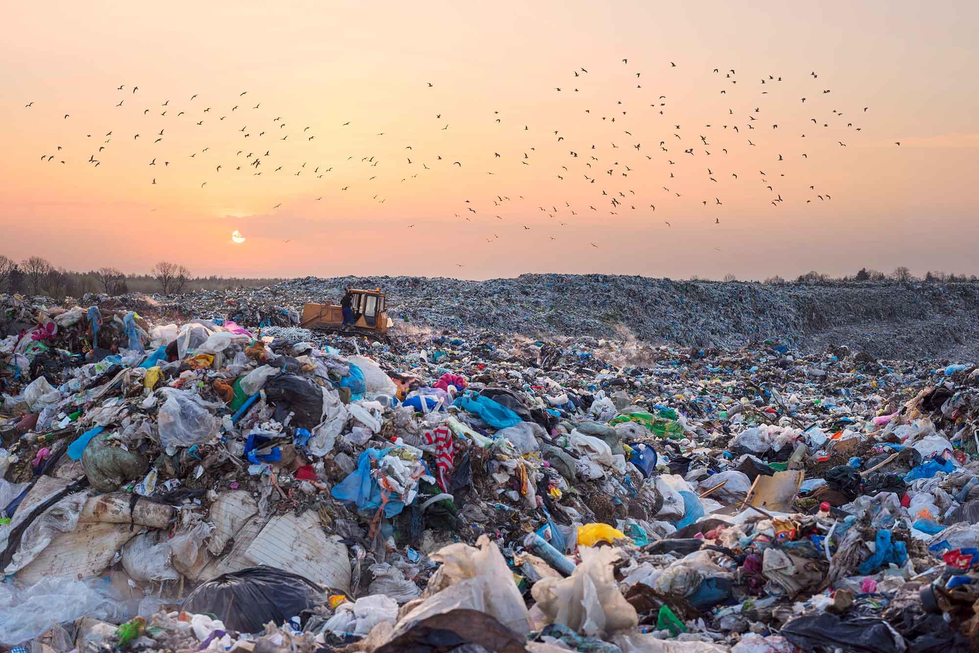 Waste plastics in landfill