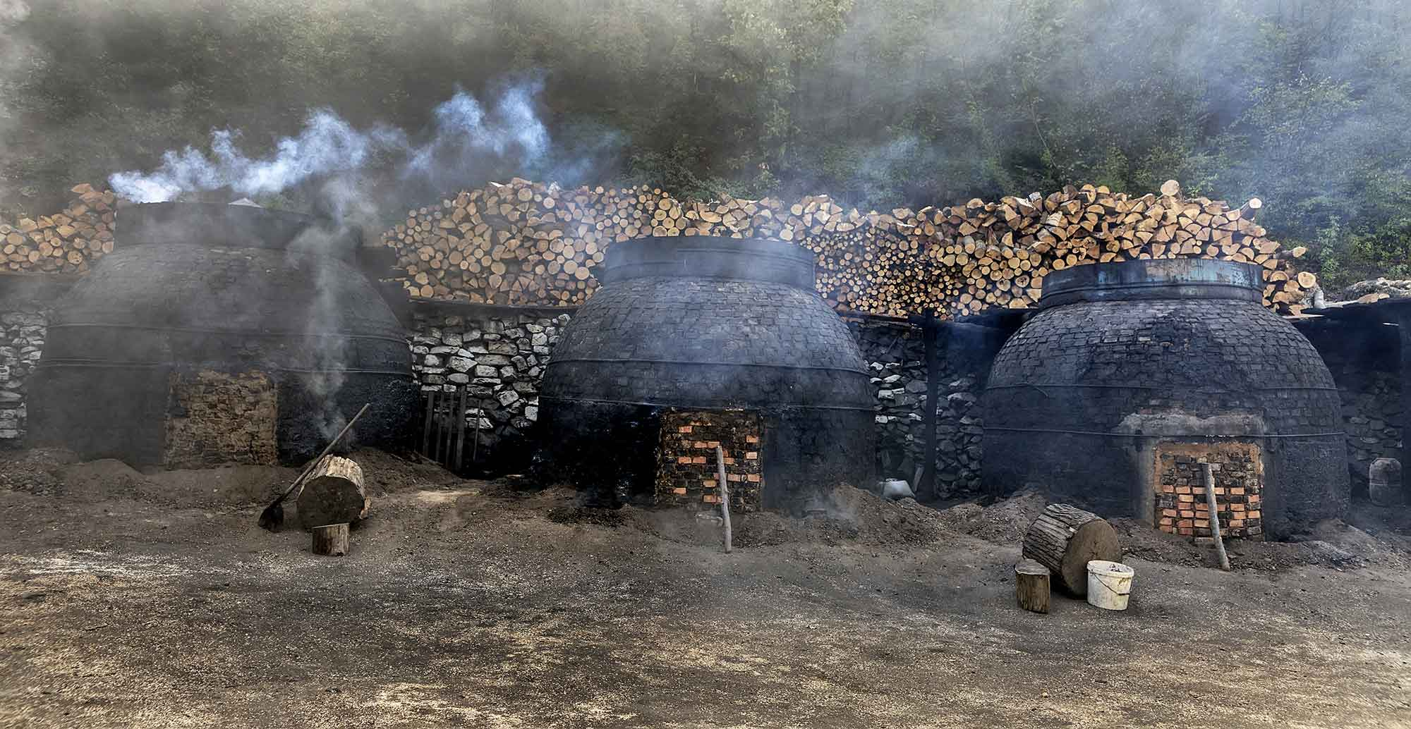 Traditional way of making charcoal